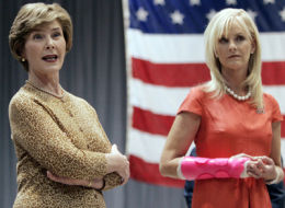 Cindy McCain (right) with her unsigned cast.